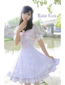 Rabbit Teeth ***Viburnum hanceanum Maxim*** Sweet Qi Lolita OP Dress