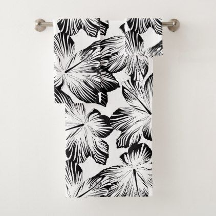 Black And White Hibiscus Bath Towel Set Black And White Gifts