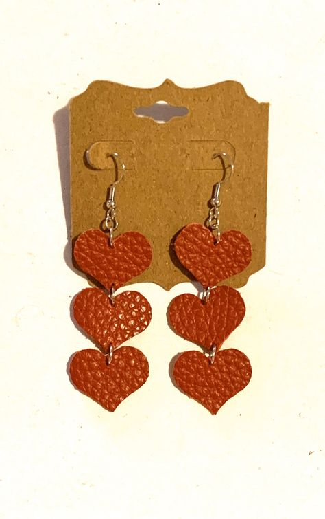 Red genuine real leather heart earrings dangle boho hippie love friendship Valentine's Day women teen statement jewelry unique stylish fun Excited to share this item from my shop: Red genuine real leather heart earrings dangle boho Diy Leather Bracelet, Diy Leather Earrings, Leather Jewelry, Leather Craft, Valentines Jewelry, Valentines For Kids, Valentine Crafts, Valentine Heart, Diy Valentine's Earrings