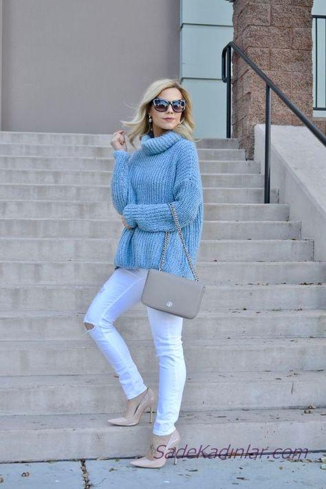 Bayanlar Icin 2021 Mavi Kazak Kombinleri Beyaz Yirtik Pantolon Mavi Bogazli Salas Kazak Mavi Kazak Suveter Beyaz Kotlar
