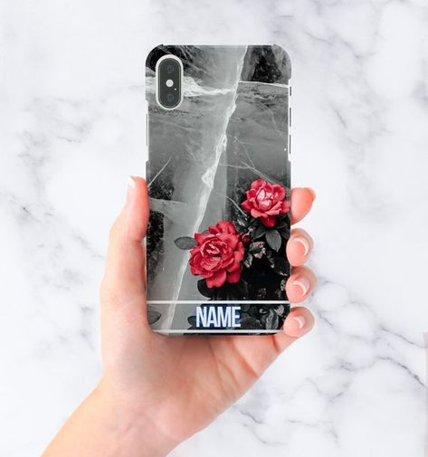 Customize Marble Ice Write Your Name Personalised Flower Red Rose  Protective Hard Case Cover For iPhone 7 iPhone X   Samsung Galaxy S9 a02d7adda1