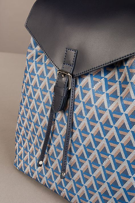 ba2624b777 Detail of our backpack Ikon, Lancaster Paris. #pattern #triangle #blue  #backpack #bag #sac #sacados #accessory #fashion #style #lancasterparis  #lancaster