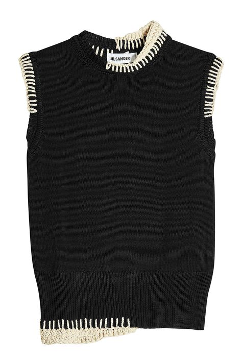 Shop Jil Sander Sleeveless Knit Top In Black from stores. On SALE now! Knit Fashion, Look Fashion, Fashion Outfits, Womens Fashion, Fashion Tips, Swag Fashion, Knitwear Fashion, Classy Fashion, Petite Fashion