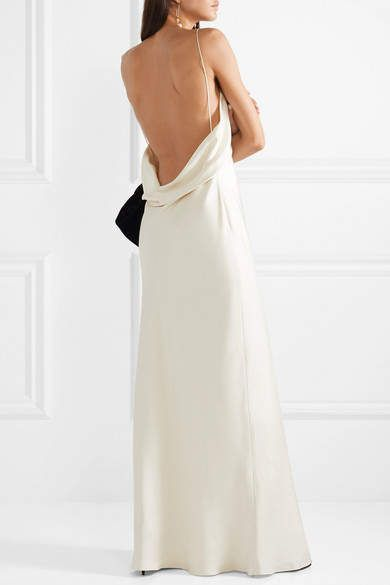 The Row Gran Open Back Silk Satin Gown Ivory Open Gran Row Slip Wedding Dress Silk Satin Dress Silk Gown Satin