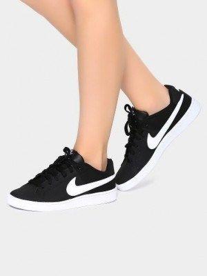 Nike Women Black Court Royale Leather Sneakers Fresh Shoes Nike Black Nikes