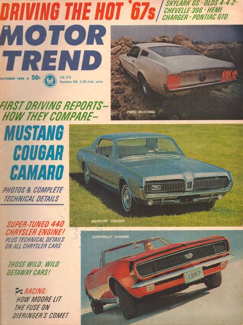 Motor Trend Magazine January 1966 Dodge Charger Chrysler 300 Pontiac tempest