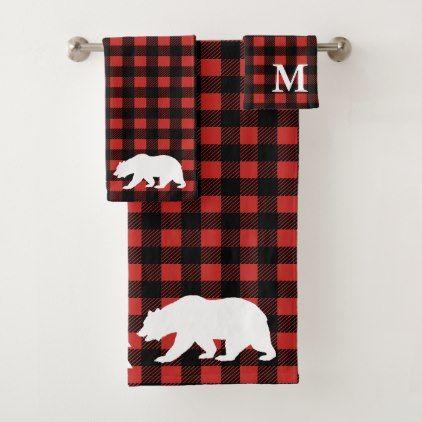 Rustic Forest Bear Red Black Buffalo Check Plaid Bath Towel Set