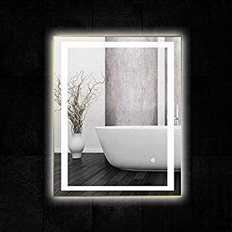 36 X 28 Inch Led Lighted Vanity Bathroom Mirror Wall Mounted Anti Fog Dimmer Touch Switch Ul Bathroom Mirror Wall Mounted Mirror Backlit Bathroom Mirror