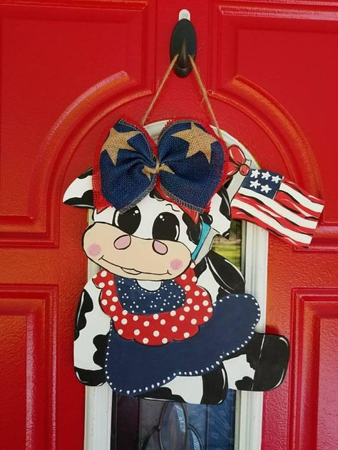 Patriotic cow with flag