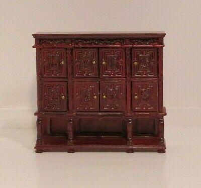 8 Doors Dollhouse Miniature JBM Tudor Cabinet Mahogany - 1:24 Scale #56023