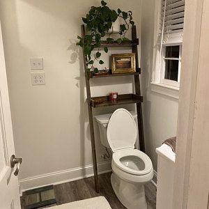 Over The Toilet Ladder Shelf In 2020 Over The Toilet Ladder Ladder Shelf