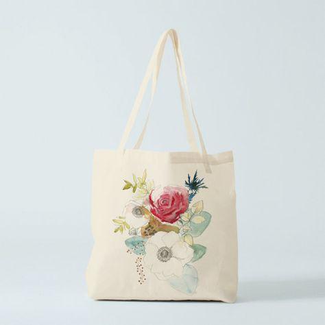 Tote Bag Aquarelle Bouquet Sac Fourre Tout Sac En Toile Cabas