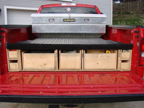 Wood shop garage storage ideas on pinterest french cleat lumber storage and tool storage - Diy truck bed storage ...