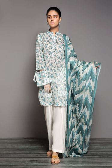 41906158– Blue Printed Lawn Fabric Per Meter - 3PC