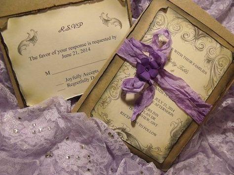 Lavender Purple Wedding Invitation Suite Vintage Inspired