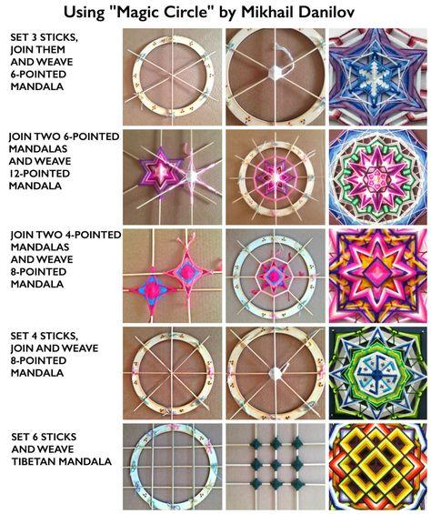 Magic Circle 11 Zoll Ojo-de-Dios Mandala Webering-Helfer-Gerät von DanilovMandala Sperrholzring ojos de dios – Top Of The World Diy Dream Catcher Tutorial, Tibetan Mandala, Magic Circle, Magic Loop, Weaving Projects, Math Projects, Knitting Projects, Knitting Tutorials, Macrame Projects