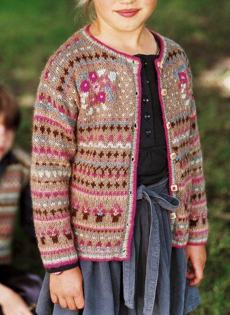 Un gilet col rond tricoté en jacquard | Modele tricot