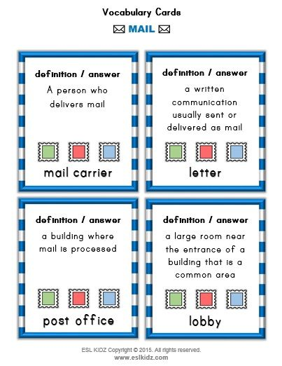 Mail Vocabulary Definition Cards Classroom Centers Post Office Activities Post Office