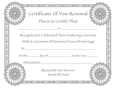 Awesome wedding vow renewal certificate photos styles ideas 2018 free marriage renewal certificate template choice image yadclub Gallery