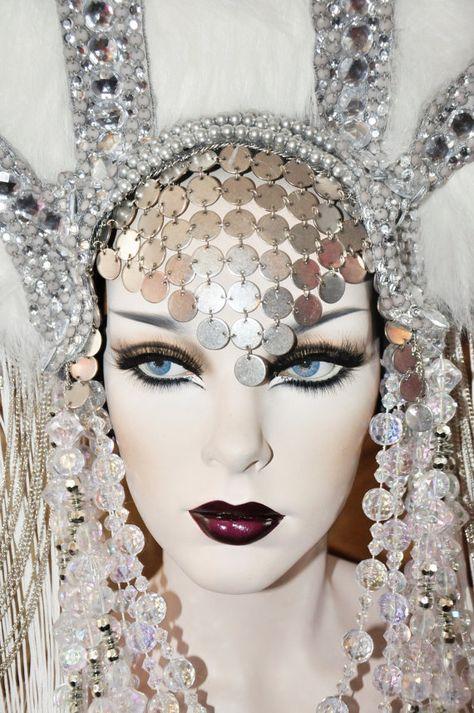 MADE TO ORDER Fringe Princess Queen Empress Goddess Siren Lady gaga Fantasy headdress headpeice wig
