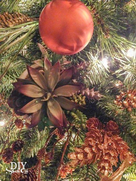 Succulents & Spruce Christmas Tree @diyshowoff - #michaelsmaker dream tree challenge decorating ideas