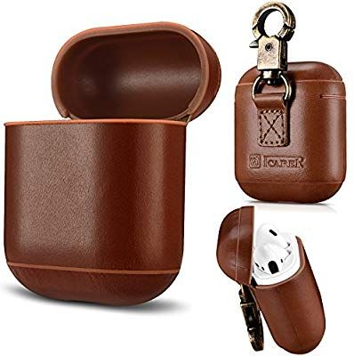 newest 89da1 b88a3 Amazon.com: AirPods Case Genuine Leather Full Protective Shockproof ...