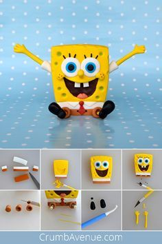 SpongeBob Cake Topper - FREE Tutorial - Hobbies paining body for kids and adult Fondant Flower Cake, Fondant Cake Toppers, Fondant Bow, Fondant Cakes, Flower Cakes, Polymer Clay Disney, Polymer Clay Crafts, Diy Clay, Fondant Figures Tutorial