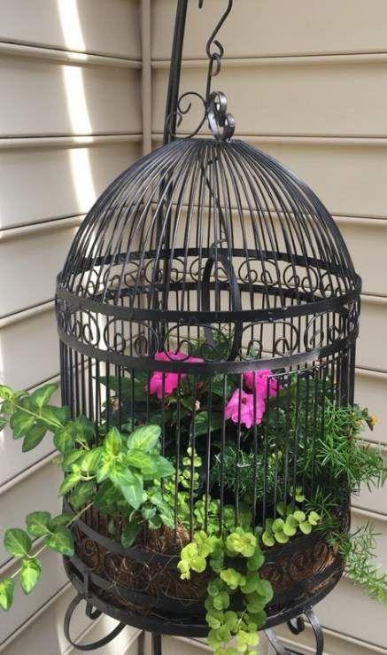24 Ideas Bird Cage Painting Flower Bird Cage Decor Birdcage Planter Bird Cage
