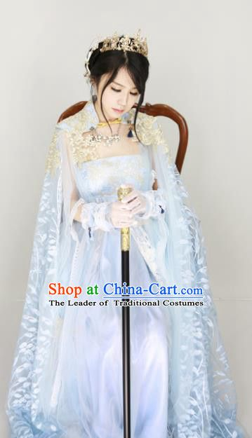 be809d660adeb Chinese Ancient Cosplay Fairy Blue Costume Han Dynasty Princess ...