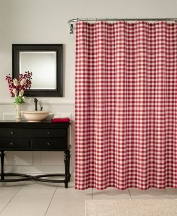 M Style Classic Check Shower Curtain Barn Red Red Shower