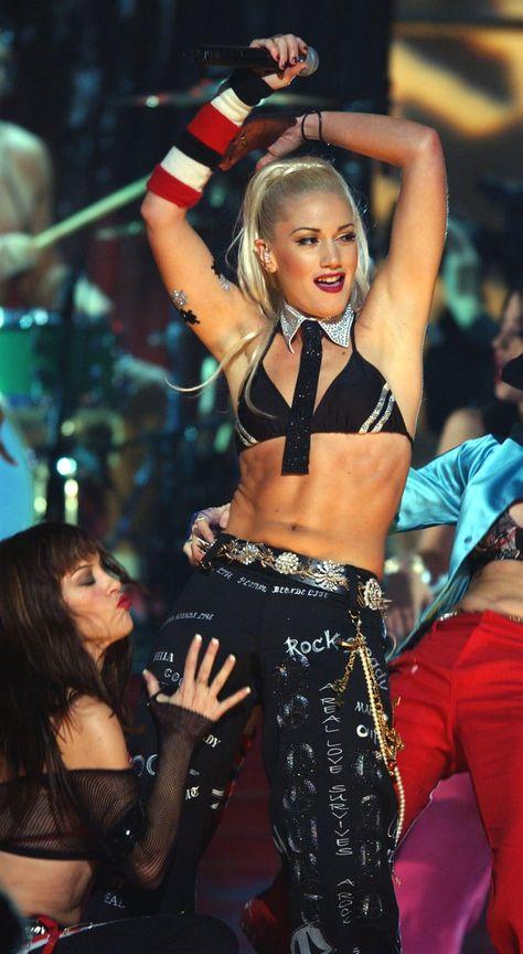 Gwen Stefani showed off her stomach during a December 2001