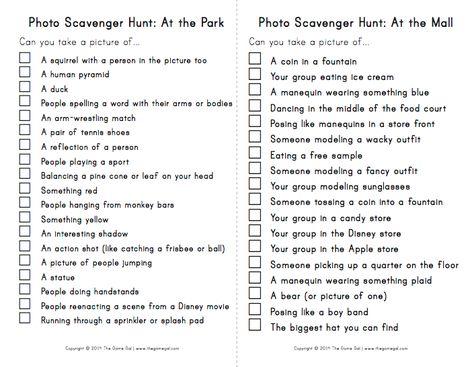 Scavenger Hunt List >> Photo Scavenger Hunt List It S My Party Photo