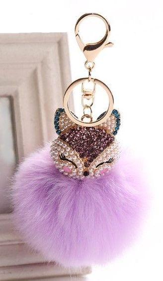 Fashion Cute Fox KeyChain Pearl Rhinestone Ball Key Ring Chain Bag Pendant UK