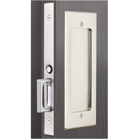 Emtek 2114us26138 Polished Chrome Modern Rectangular 7 1 4 Inch Passage Mortise Pocket Door Pull For 1 3 8 Thick Doors Pocket Door Handles Pocket Door Hardware Pocket Doors