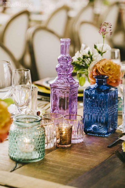 Colourful Wedding Glassware Decor, Eclectic Wedding Decor, Indoor Garden Wedding Ideas | ElegantWedding.ca