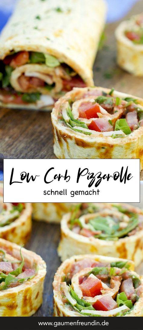 Schnelle Low Carb Pizzarolle mit Hähnchen, Tomaten, Rucola und Käse - Gaumenfreundin Foodblog #pizzarolle #pizza #lowcarb #low #carb #gesund #schnell #einfach #hähnchen #healthy #chicken