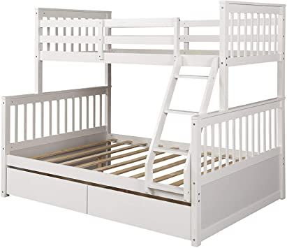 Twin Over Full Bunk Bed Civil Furniture Sold Wood Bed Frame With Ladder And Two Storage Drawers Convertib White Bed Frame Full Bunk Beds Solid Wood Bunk Beds White twin over full bunk bed