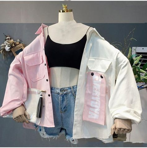 Plegie Harajuku Oversize Patchwork Jacket Women