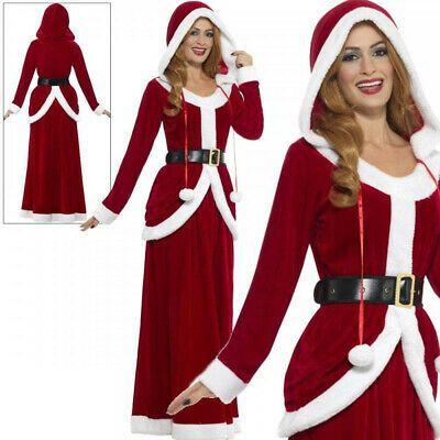 Deluxe Miss Santa Claus Ladies Fancy Dress Costume S-L