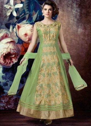 Green Embroidery Work Tapeta Silk Designer Long Anarkali Suit…