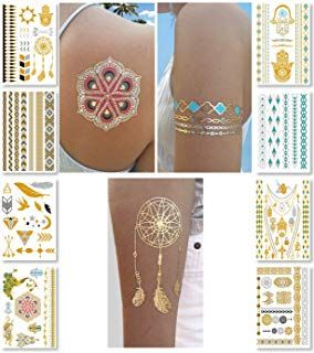 Metallic Temporary Tattoos For Women Teens Girls 8 Sheets Gold Silver Temporary Tattoos Glitt Silver Temporary Tattoos Metal Tattoo Metallic Tattoo Temporary