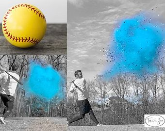Softball Gender Reveal Softball Powder And Or Confetti Softballs In Pink Or Blue Pair With Powder Cannons Or Confetti C Gender Reveal Baby Gender Reveal Gender