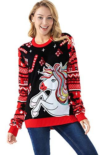 Unisex Ugly Womens Christmas Sweater Cute Animal Llama Reindeer Knitted Funny Pullover Santa