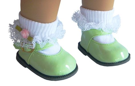 Doll Clothes fits American Girl BITTY BABY Light Green Patent Shoes /& Socks