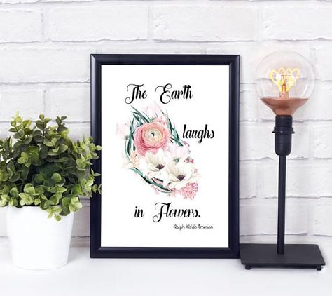 The Earth laughs in Flowers, Quote Art Print, Wall Art, Digital Print, Wall Decor, Home Decor, Instant Download, 8x10, 11x14, A3, A4, #11x14 #8x10 #Art #Decor #Digital #Download #EARTH #flowers #Home #Instant #laughs #Print #Quote #Wall