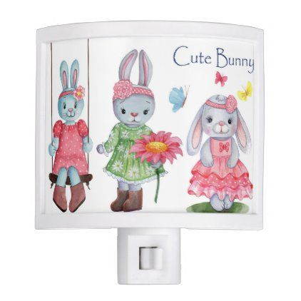 cute bunny night light zazzle com in 2020 cute bunny night light kid bathroom decor pinterest