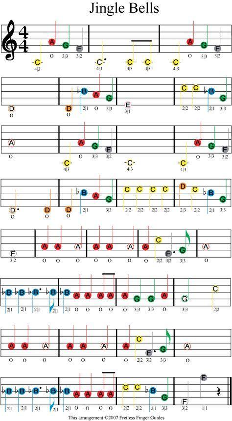 Jingle Bells Easy Color Coded Violin Sheet Music Christmas Sheet