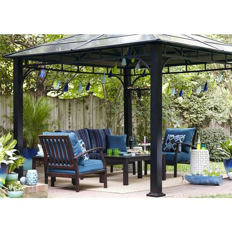 Shop Allen Roth Black Square Grill Gazebo Foundation Pergola Grill Gazebo Outdoor Pergola