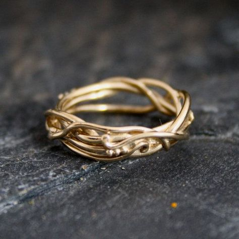 14Kt Yellow Gold Elvin Flow Organic Whimsical by opalwing on Etsy