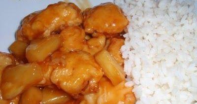 Ingredientes  6 presas de pollo  1 lata de piña en conserva picada en cuadritos  2 cucharadas de harina  1 taza de agua  2 cucharadas de ...